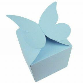 Light Blue Large Butterfly Top Muffin / Cupcake Box 80mm x 80mm x 80mm